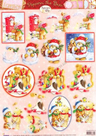 Christmas Popcorn The Bear No 34 Die Cut 3d Decoupage Craft Sheet